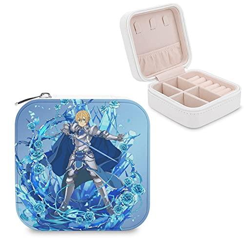Sword Art Online - Caja de almacenamiento portátil de piel sintética de viaje, utilizada para el almacenamiento de pequeños anillos de joyería, pendientes, collares