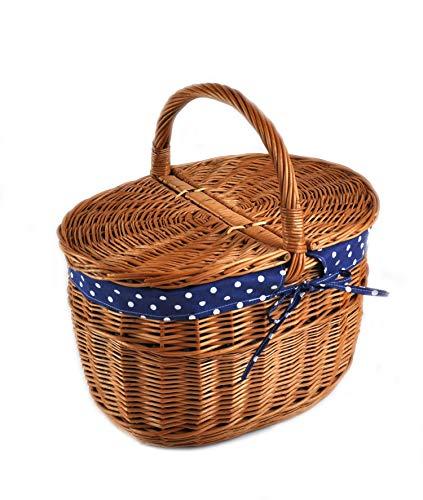 MyBer® Korb Picknickkorb Tragekorb Einkaufskorb mit 2 Deckeln Weidenkorb Vollweide geflochten braun K12-027-SBW