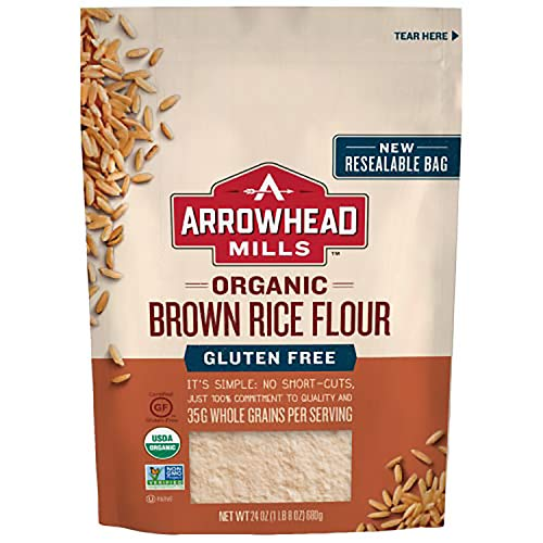 Arrowhead Mills Organic Brown Rice Flour Gluten Free 24 Ounce Bag Pack of 6