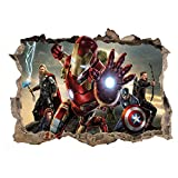 Kibi Stickers 3D Trompe L'Oeil Avengers Iron Man Stickers Muraux Iron Man Autocollant...
