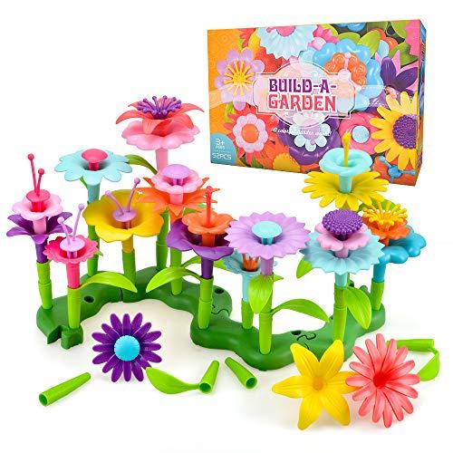 Juguetes Regalos para Niños Niña Edad 3 4 5, Flores Juguetes Set para Niños de 3-7 Años Regalo de Cumpleaños para Niñas 4 5 6 7 8 Años Niños Manualidades Educativas Jardín de Construcción Juguetes