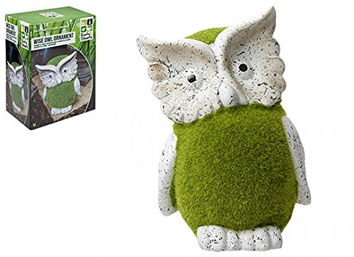 Flocked Wise Owl Garden Patio Ornament Grass Effect Animal Statue Figure 26cm