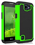 LG Rebel LTE Case, Jeylly [Shock Proof] Scratch Absorbing Hybrid Rubber Dual Layer Impact Defender Rugged Slim Hard Case Cover Shell for LG Rebel LTE/LG K4 / LG Optimus Zone 3 / LG Spree - Green