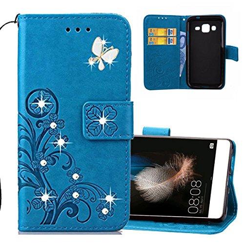 EMAXELERS Samsung Galaxy J1 2016 Hülle Glitzer Bling Cristal Schmetterling Clover PU Leder Wallet Hülle Standfunktion Karteneinschub Etui Handyhülle für J120,Diamond Blue Clover with Butterfly