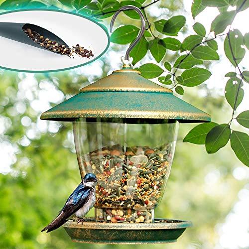 FUNPENY Bird Feeder, Panorama Gazebo Wild Bird Feeder Hanging with Bird Seeds Scoop for Garden Yard Decoration