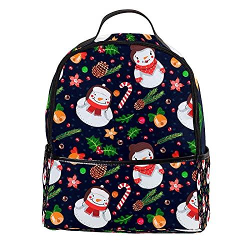 ATOMO Mini mochila casual Navidad muñeco de nieve PU cuero viajes bolsas de compras Daypacks