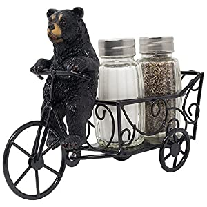 Decorative Black Bear Riding Bicycle Cart Salt and Pepper Shaker Set Figurine Display Stand Holder for Rustic Cabin and Lodge Kitchen Decor Table Centerpiece Decorations or Wedding & Housewarming Gift