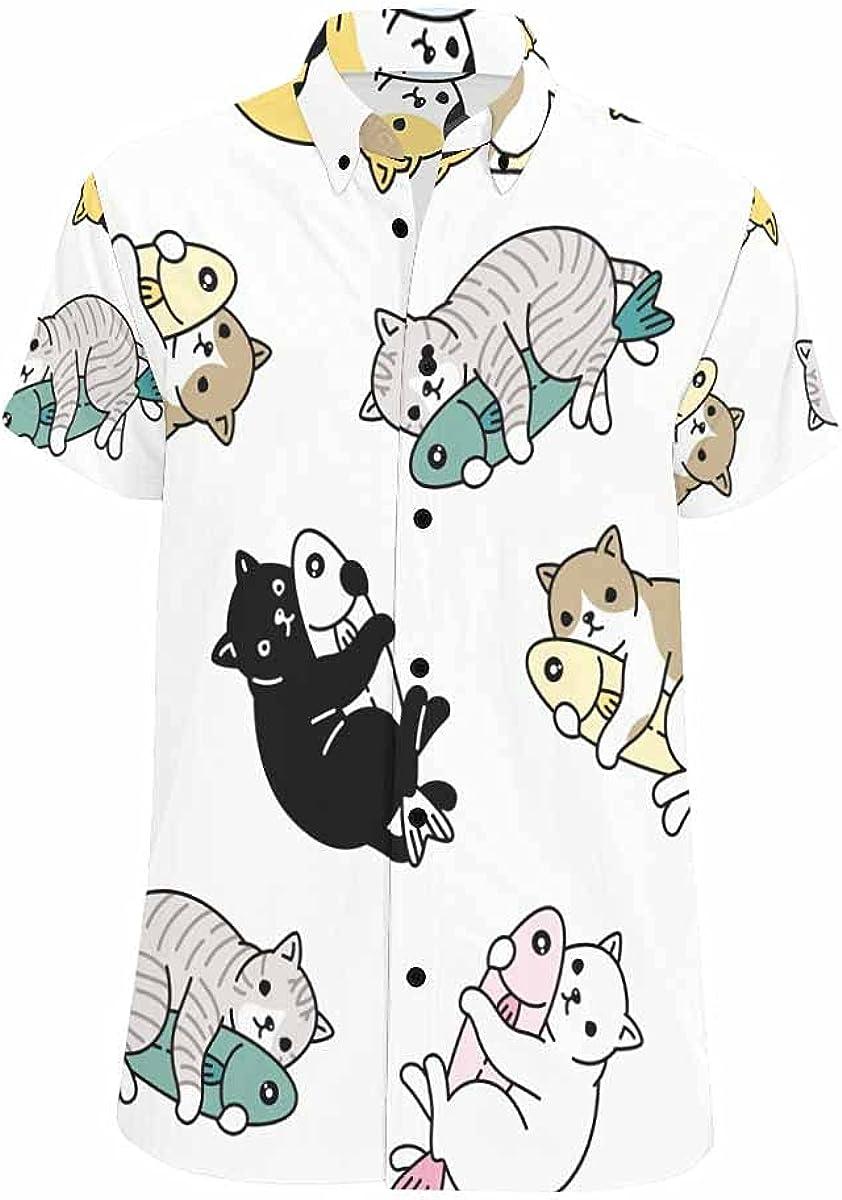 InterestPrint Cartoon Colored Cat Fish Men's Short Sleeve Looser Fit Casual Button Down Beach Shirt