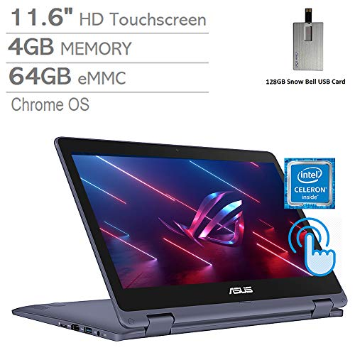 2020 ASUS VivoBook 11.6' HD Touchscreen Laptop Computer, Intel Celeron Processor N3350, 4GB RAM, 64GB eMMC, Intel HD Graphics 500, Webcam, Stereo Speakers, Win 10 S, Gray, 128GB Snow Bell USB Card