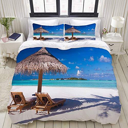 Funda nórdica, Dos sillas y sombrilla en la Playa con Sombra de Palmera, Juego de Cama Juego de sábanas Ultra cómodas y livianas y lujosas de edredón de poliéster