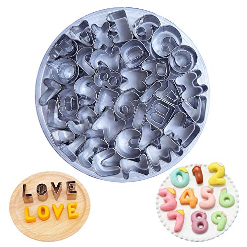 Hossom Alphabet and Number Cookie Cutters Set, Set of 37 DIY Letter Number Cake Mould, New Year Mini Numeral Cookie Cutter for Fondant Biscuit Cake Fruit Vegetables or Dough Cut