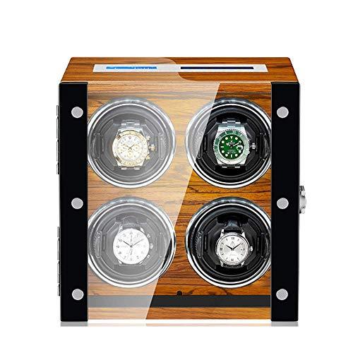 ZCYXQR Caja enrolladora de Reloj automática 4 para Relojes automáticos Compatible con tamaño de Pareja, Motor súper silencioso Alimentado por CA