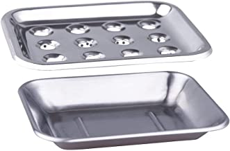 IMEEA Soap Dish Holder with Drainage for Bathroom Kitchen SUS304 Stainless Steel Double Layer