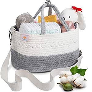BIBSYBABY Baby Diaper Caddy Organizer – 100% Cotton Rope Diaper Basket with 2 Pockets, Handle Locker and Removable Shoulder Strap – Baby Shower & Newborn Gifts
