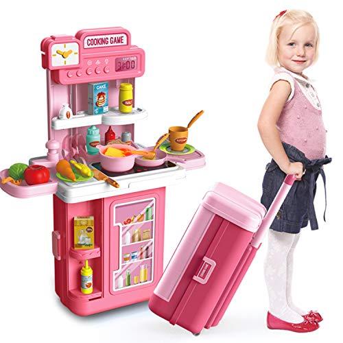 HONYAT 41pcs Pretend Play Kitchen Sets with Kids Travel Suitcase, Kitchen Accessories Set, Realistic Lights & Sounds, Play Food Pre-Kindergarten Toys...