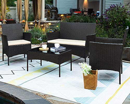Greesum GS4RCS0BG 4 Pieces Patio Outdoor Rattan Furniture Sets Black and Beige
