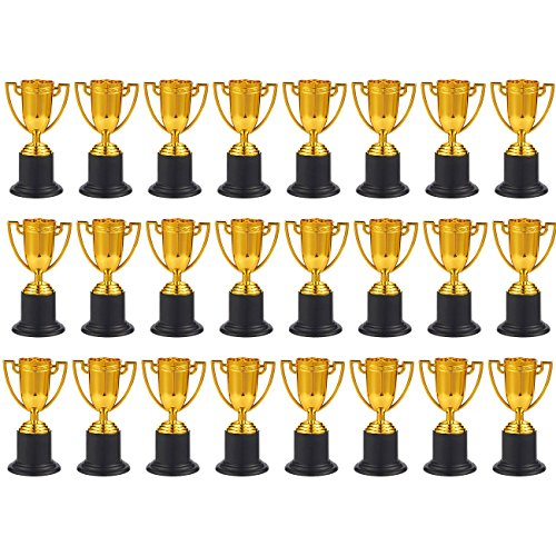 Juvale Award Trophies - 24-Pack Plastic Gold Trophy Cups for Sports Tournaments, Competitions, Parties, 1.9 x 4 x 1.9 Inches