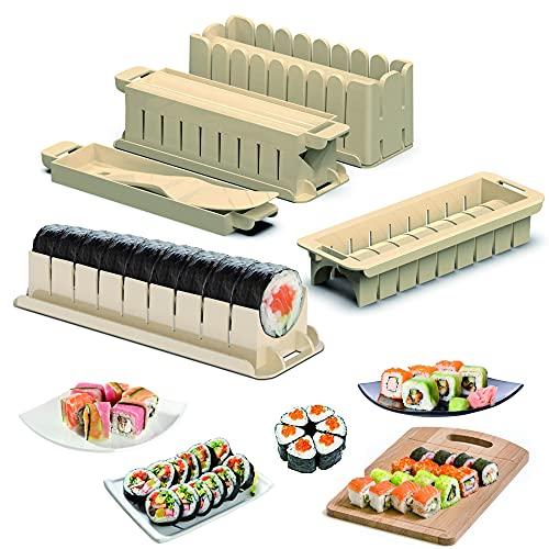 Kit de fabricación de sushi, un juego completo de 9 herramientas de plástico para hacer sushi con (color blanco)