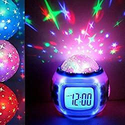 Fine Sky Star Night Light Projector Lamp Bedroom Alarm Clock with Music Backlight Calendar Thermometer for Children Kids Birthday Gift Digital Alarm Clock (White)