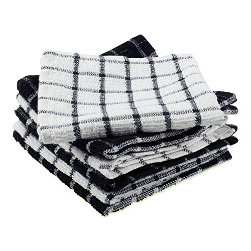 DII Terry Combo Windowpane Dishcloths Absorbant, Multi-Use, Fast Drying and Machine Washable, 12x12', Black 6 Piece