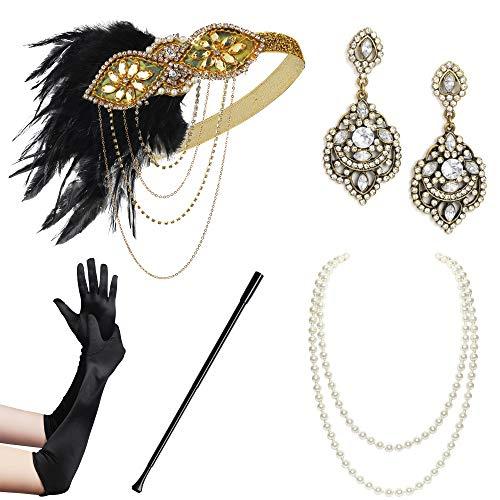 Coucoland 1920s Accessoires Set Damen Gatsby Kostüm Zubehör Set inklusive Stirnband Halskette Handschuhe Ohrringe Zigarettenhalter (Set-12)