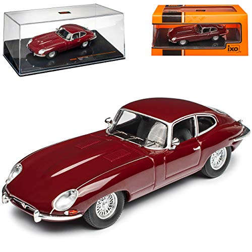 Ixo Jaguar E-Type Coupe Dunkel Rot 1961-1974 1/43 Modell Auto mit individiuellem Wunschkennzeichen