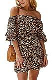 Vestido de Leopardo con Hombros Descubiertos para Mujer Mini Vestidos de Verano Sexy Boho Caqui M