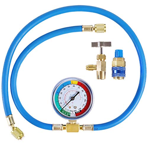 """YSTOOL AC U Charge Hose with Gauge Car Refrigerant R134a R12 R22 Recharge Tool Kit Auto Air Conditioner Charging Hose 250PSI Low Pressure Meter Brass 1/4"""" Female Parts R134a Can Tap Quick Coupler"""