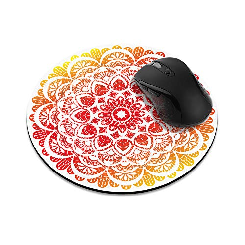 Non-Slip Round Mousepad, WIRESTER Red Orange Mandala Mouse Pad for Home, Office and Gaming Desk