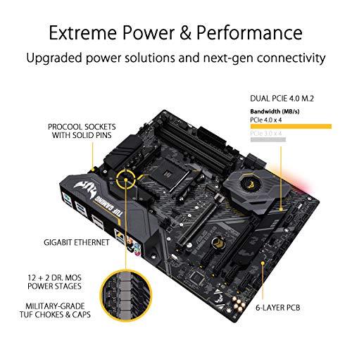 ASUS TUF Gaming X570-Plus Mainboard Sockel AM4 (Ryzen 3000 kompatibel, ATX-, PCIe 4.0, DDR4, USB 3.2, Aura Sync)