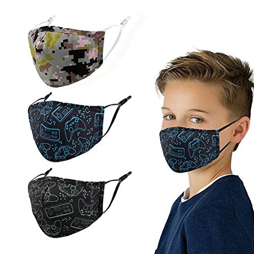 Reusable Masks Kids Face Mask , Cotton Adjustable Maskes Cute Facemask Boys Girls Kid Childrens Breathable Cloth Children Facemasks Child Youth Teens Washable Fabric Small Black Game Comfortable Boy