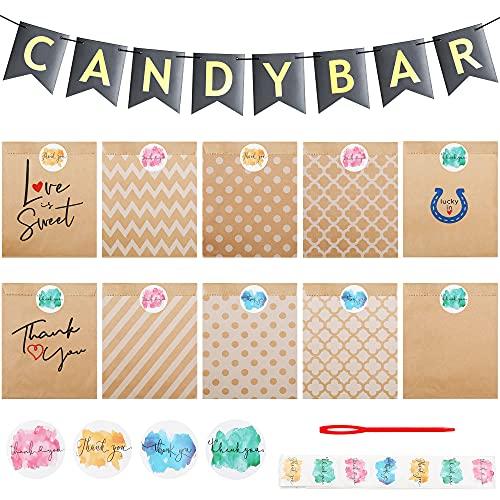 Johiux Candy bar Tüten,100 Papiertüten Klein,100 Danke Aufkleber,1Candy Bar Banner,Vintage Candybar Geschenktüten Papier für Dekoration Hochzeit Geburtstagsparty Süßigkeiten Party