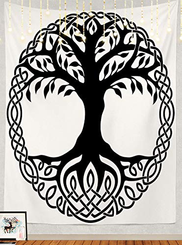 Shrahala Tree of Life Tapestry, Black Celtic Tree of Life White Branches Floral Wall Hanging Large Tapestry Psychedelic Tapestry Decorations Bedroom Living Room Dorm(82.7 x 59.1 Inches, Black 2)