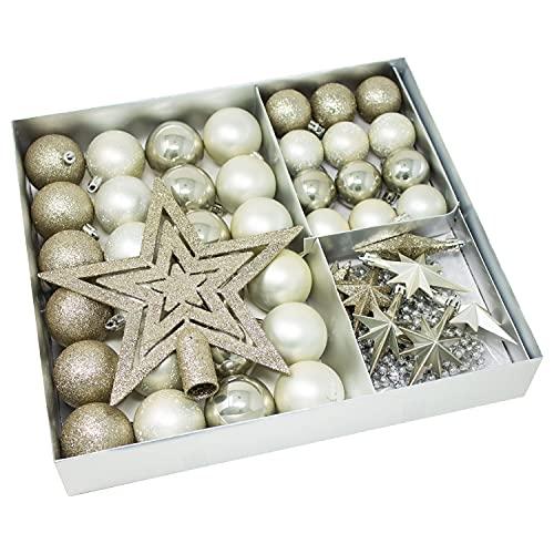 ToCi Juego de 45 bolas de Navidad con estrellas, color blanco invernal
