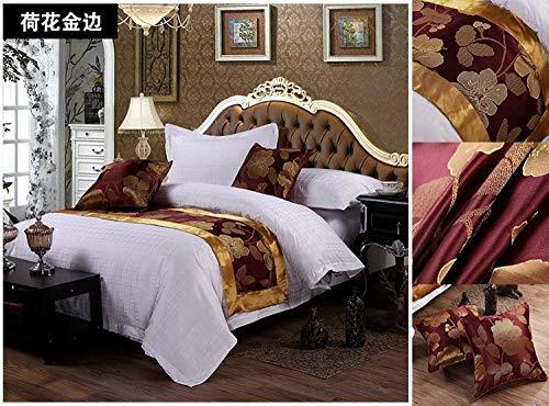 Chemin de Lit Étoile de style européen, drapeaux de lit, serviettes de lit, paysage chinois à la volée lit et petit déjeuner décoration de lit Zen, tissu, Lotus Phnom Penh, Lit de 1, 2 m 50 x 180CM