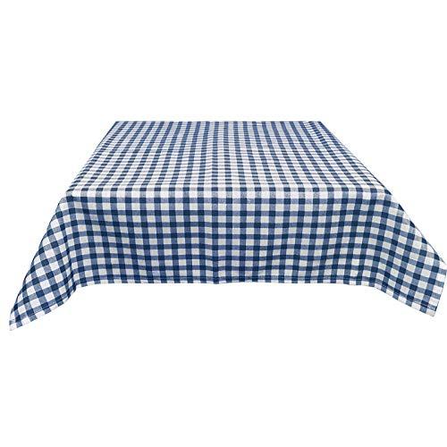 JEMIDI Stofftischdecke für Bistrotische Tischdecke kariert Tischdecken Decke Tisch Tischdecken (Blau Karo, 135cm x 225cm)