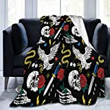 QUEMIN Patr 贸 n De L 铆 NEA De Tatuaje De La Vieja Escuela Soft Cozy Anti-Pilling Flannel Blanket Couch for Couch, Bed, Sofa, Travel for Women, Men and Kids 50x40inch