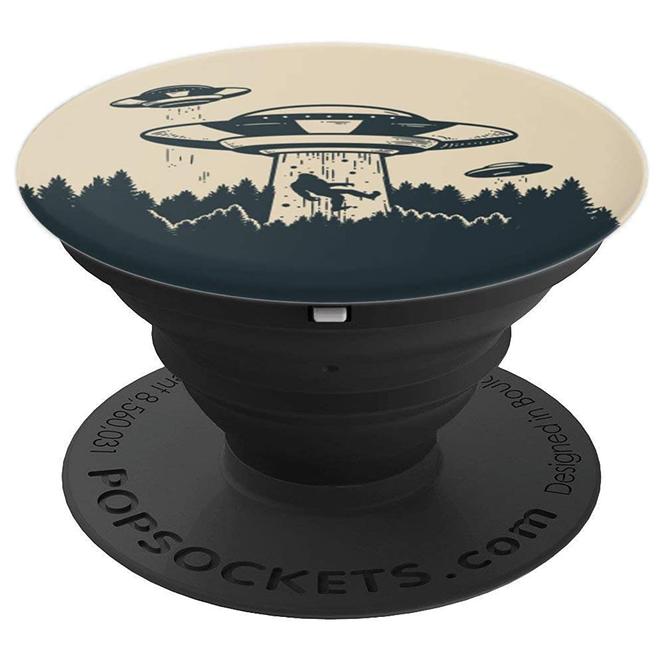 Funny Alien Abducting Bigfoot Pop Socket - Flying Saucer - PopSockets Grip and Stand for Phones and Tablets