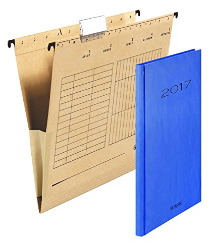 Herlitz 10843373 Hängetasche (A4 mit Leinenfröschen) 25 Stück im Karton braun | im Promo Set mit Wochen- Buchkalender Sidney 2017 in blau als Zugabe (1 Karton | Promo Pack 2)