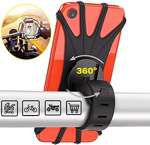 Soporte Movil Bicicleta,Soporte Movil Moto,GPS Universal Rotación 360° Manillar,Soporte Desmontable Moto,Bici,Ajustable Silicona 4.5'-6.5'