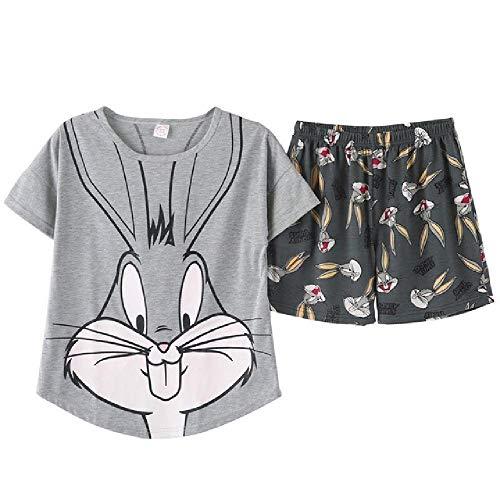 Pijama de verano para mujer, bonito conejo, pijama de dibujos animados, conjunto de pantalones cortos para mujer, lindo traje de noche sexy de algodón, pijama grande patio Gris gris XL