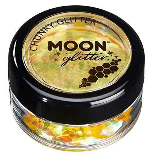Paillettes rondes irisées par Moon Glitter (Paillette Lune) – 100% de paillettes cosmétique pour le visage, le corps, les ongles, les cheveux et les lèvres - 3g - Jaune