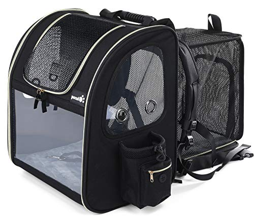 Pecute Pet Carrier Backpack Expandable,Portable Breathable Rucksack with Mesh Opening-Visible Acrylic-Safety Belt-Pockets, Extendable Back More Space Great For Carrying Puppy Cats (Black)