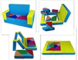 scalesport Spielsofa KG05B 4in1 Kindersofa Spielmatraze für Das Kinderzimmer Spielpolster Softsofa Blau/Grün Puzzle Kinderzimmersofa Spieltisch Kindermöbel