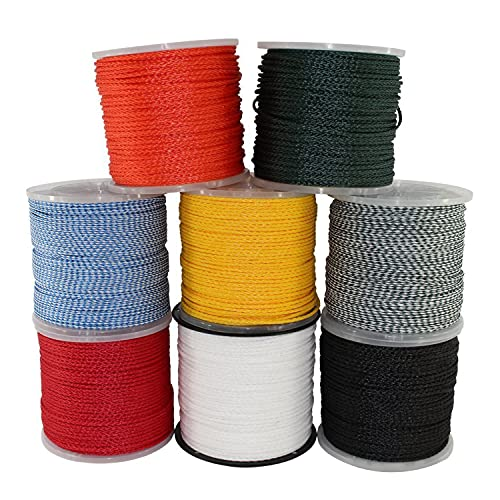 """SGT KNOTS Lightweight Hollow Braid Polypropylene Rope - Moisture & Chemical Resistant (1/4"""" x 500ft, BlueWhite)"""