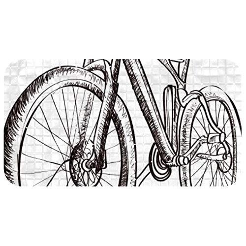 Bennigiry Alfombrillas de bañera antideslizantes para adultos y niños de 26,9 x 14,7 pulgadas, con ventosas y orificios de drenaje, bicicleta vintage