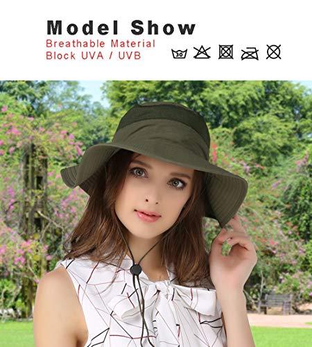 EONPOW Windproof Fishing Hats UPF50+ UV Protection Sun Hat Outdoor Bucket Mesh Hat 56-61cm Blue