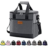 Iknoe Large Cooler Bag Collapsible 24 Can Insulated Bags Leakproof Lunch Cooler Tote With Multi-Pockets for Adult & Kids Insulated Thermal Bag for Beach, Picnic, Office Work (New Grey)
