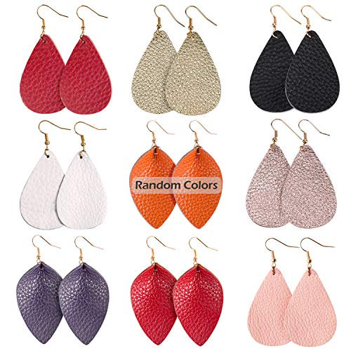 JSLOVE Leather Fall Earrings (Random Color) Set of 9 Pairs Dangle Earrings for Women Fashion,Lightweight Teardrop Leaf Handmade Womens Earrings Jewelry for Birthday/Party/Valentine/Christmas Gifts