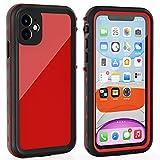 iPhone 11 Waterproof Case with Screen Protector Full Body Protector Shockproof Dustproof Dirtproof Heavy Duty IP68 Waterproof Case for iPhone 11(6.1inch) (Red)